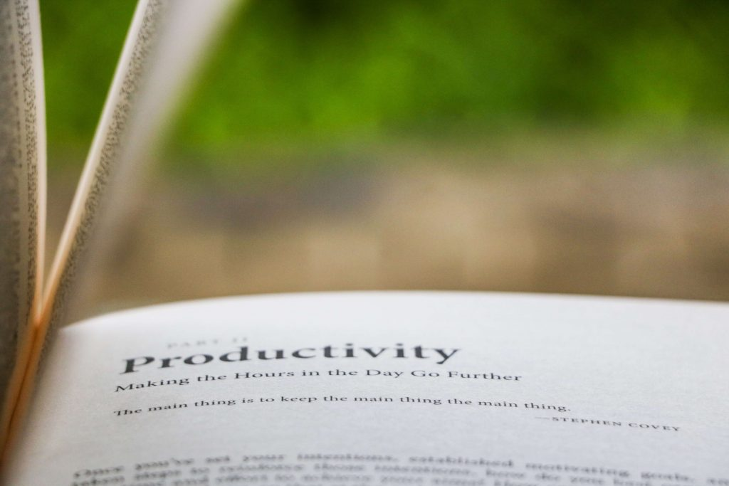 an open book with the meaning of productivity written on the pages