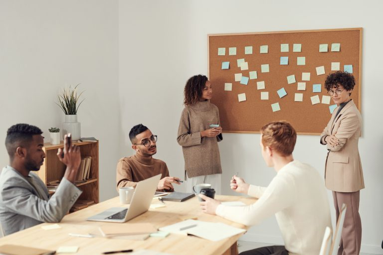 a sales team at a training session